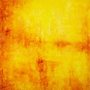 Full abstraction, in vivid oranges and yellows, reminiscent of the New York School circa 1950.