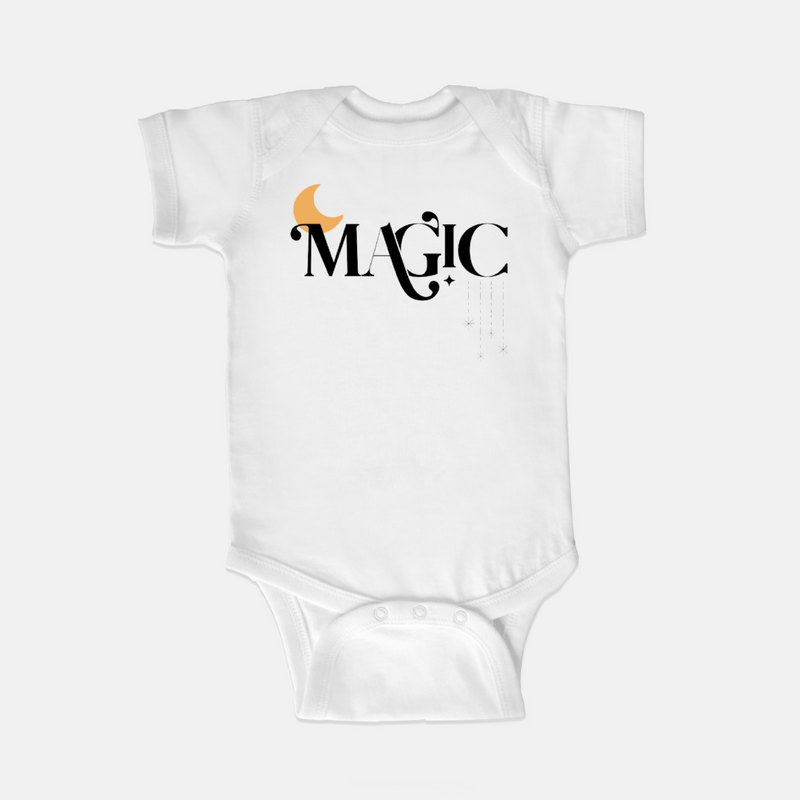 White bodysuit printed with the word magic