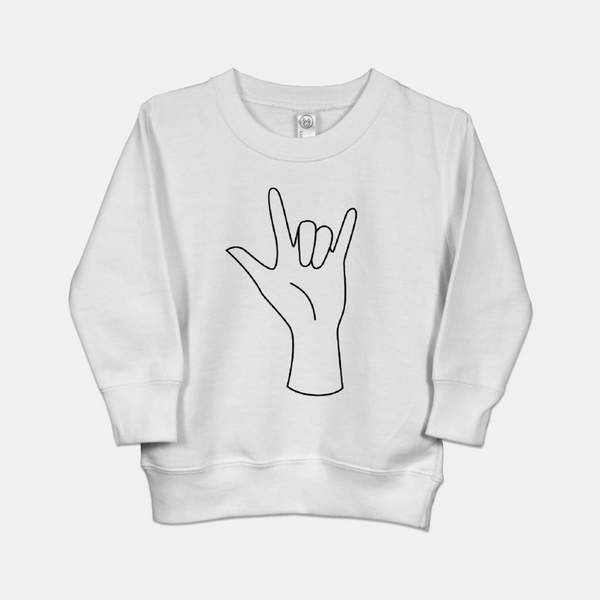 White toddler sweatshirt printed with American Sign Language hand saying I Love you in ASL.