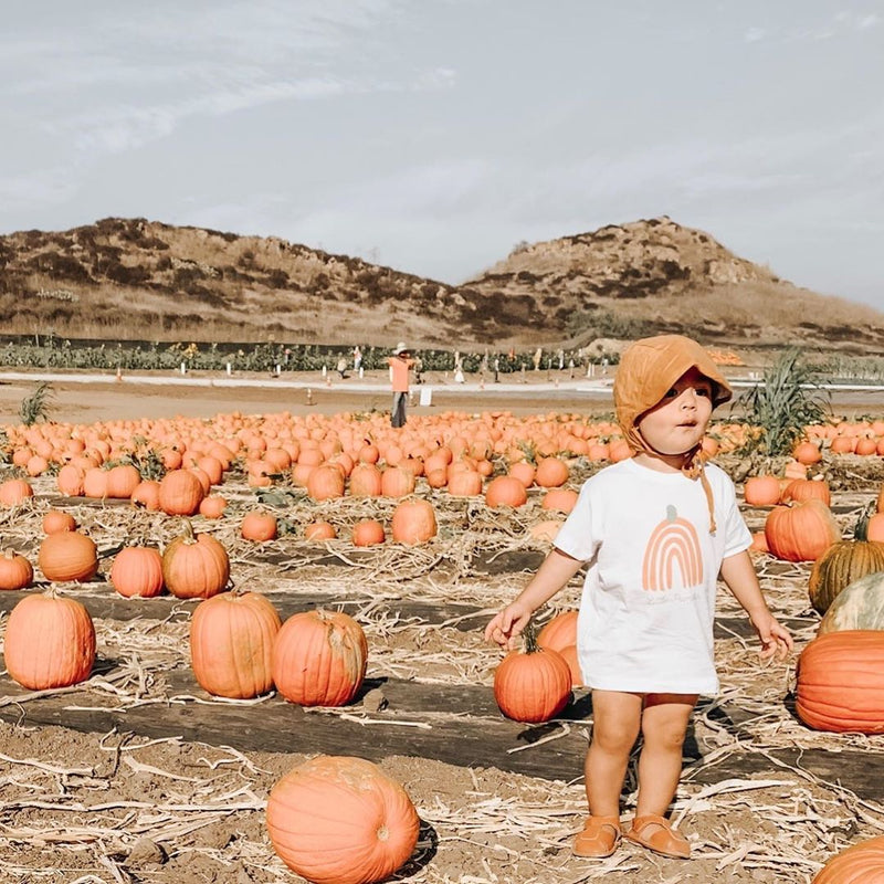 Toddler standing in a pumpkin patch, wearing a mustard colored bonnet and a tee shirt printed with an orange colored rainbow in the shape of a pumpkin.