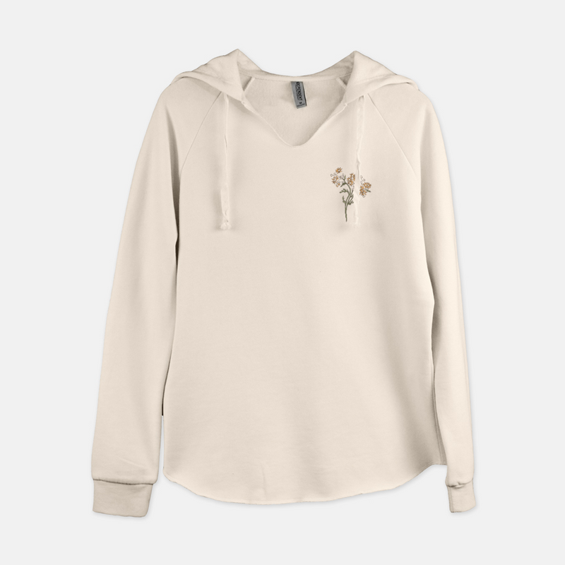 Women's pullover hooded sweatshirt printed with a small bouquet of vintage wildflowers in the top right corner.