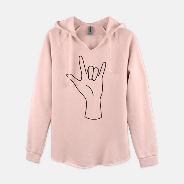 Women's pullover hooded sweatshirt printed with the outline of a hand forming the American Sign Language sign for I love you.