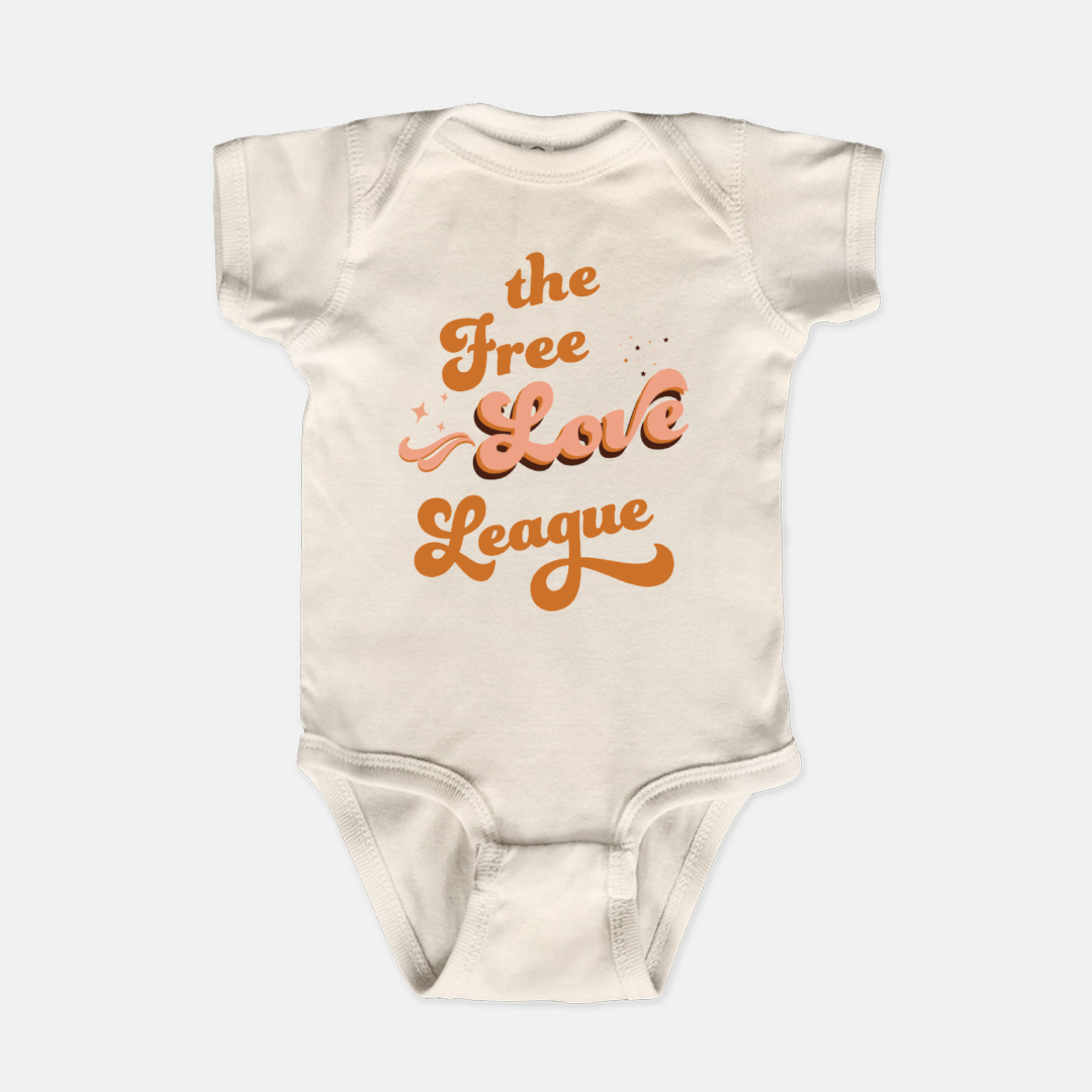 Bodysuit printed with the words The Free Love League in a retro style font