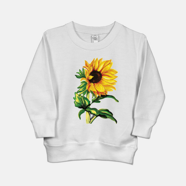 White toddler sweatshirt printed with a hand drawn sunflower.