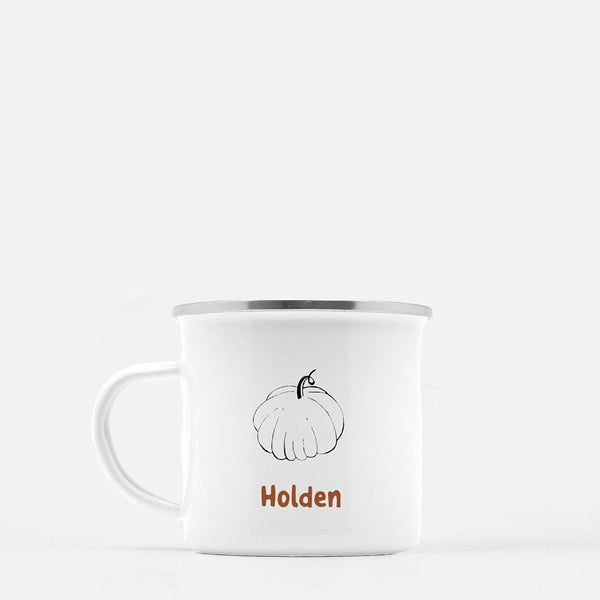 stainless white mug printed with a pumpkin and the name Holden