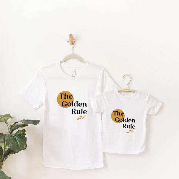 matching mommy and me white tee shirts printed with the words The Golden Rule