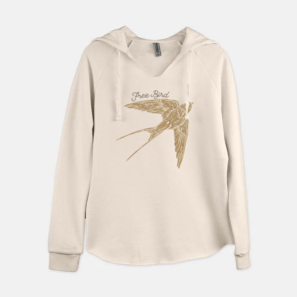 Women's pullover hooded sweatshirt printed with a flying boho style sparrow and the words free bird.