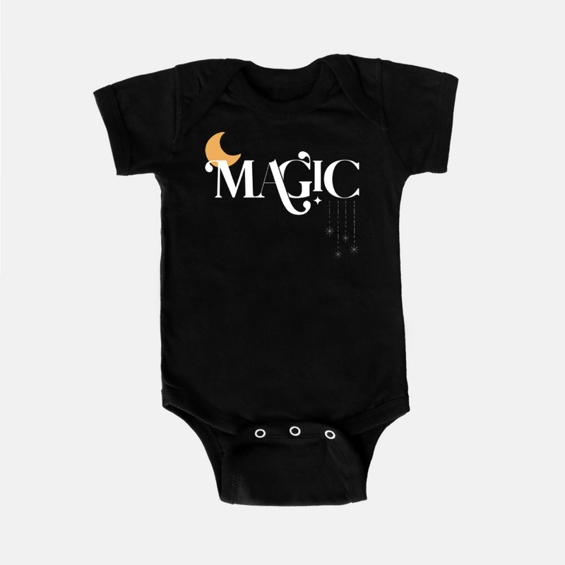 black bodysuit printed with the word magic