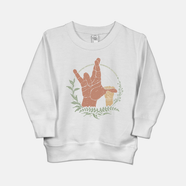toddler sweatshirt printed with the American Sign Language (ASL) sign for I really love you