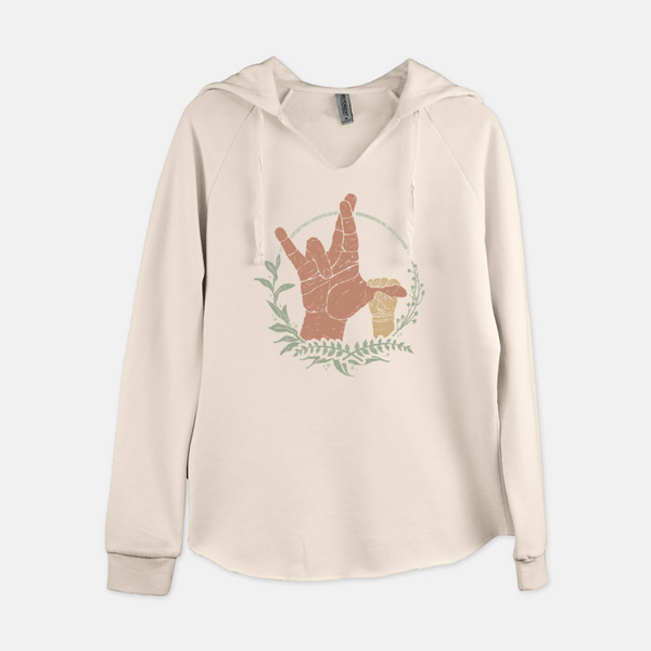 Women's natural colored hooded, long sleeve, pullover sweatshirt printed with the American Sign Language sign for I really love you