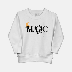 white toddler sweatshirt printed with a yellow moon and the word magic in black