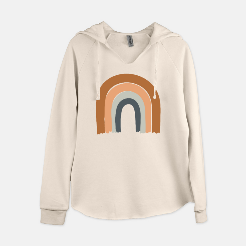 Women's pullover hooded sweatshirt printed with an earthy colors rainbow.