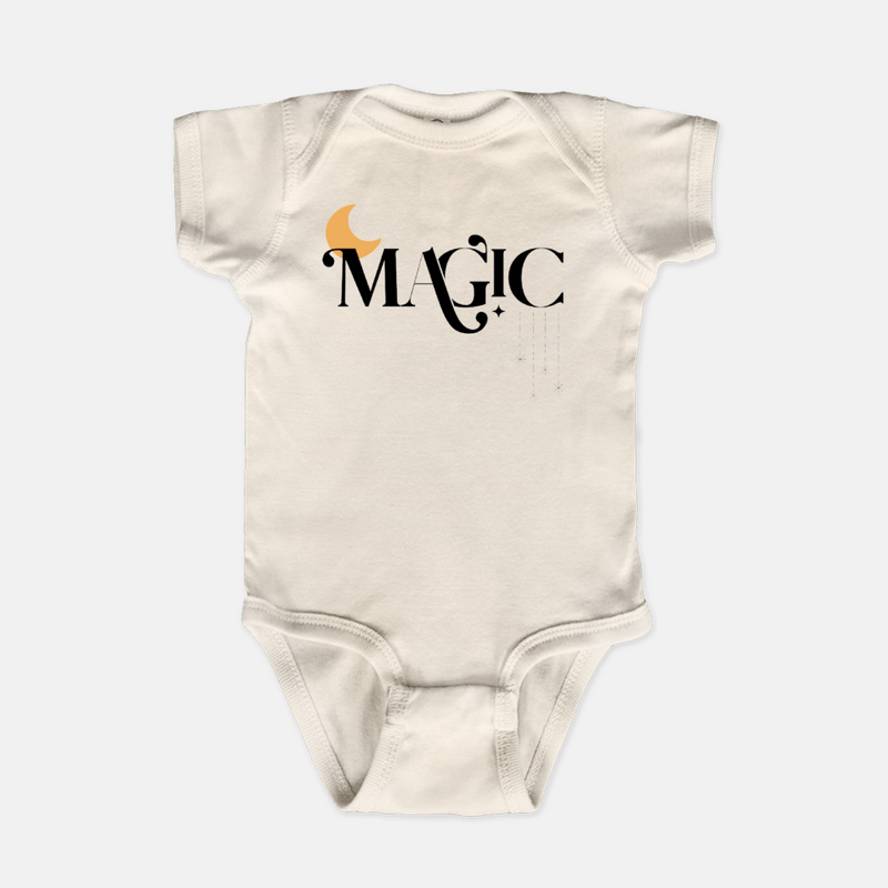 Natural bodysuit printed with the word magic