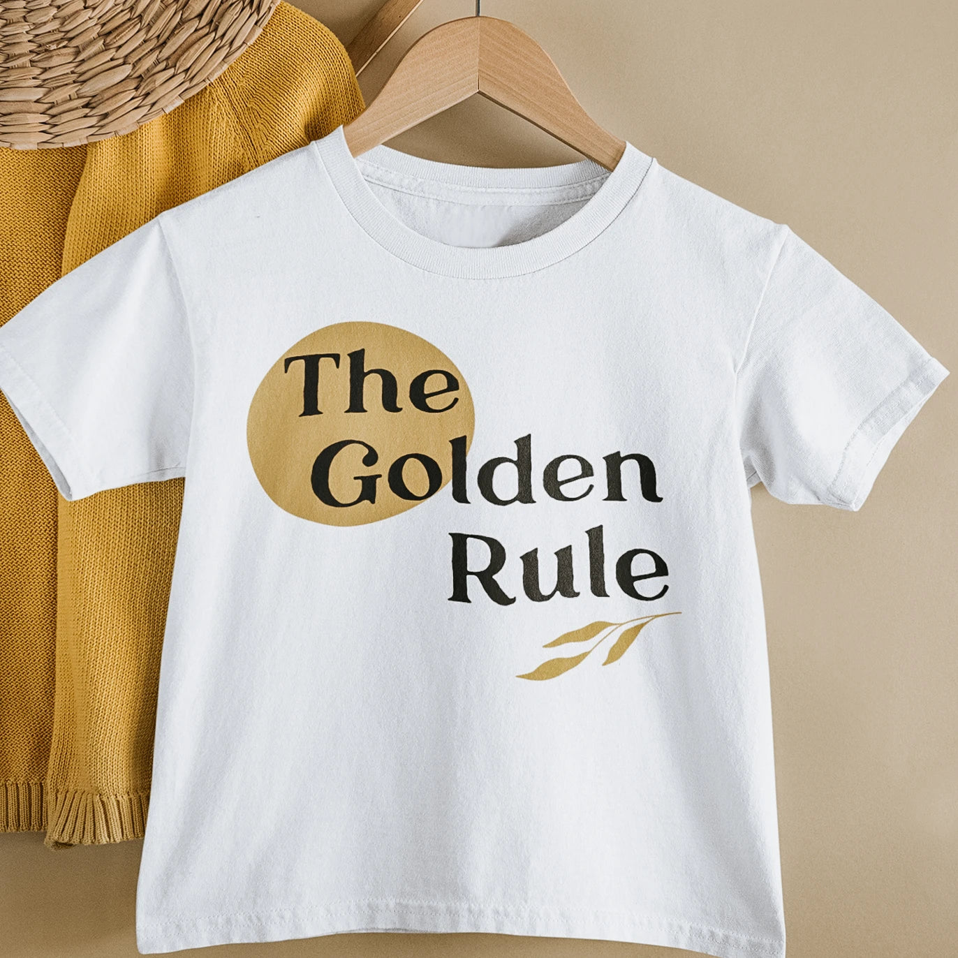 white tee shirt that says the golden rule on it