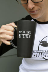 """Sip On This"" + Minnesota RollerGirls Logo Coffee Mug"