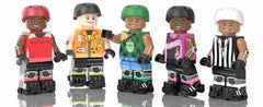 Five minifigs of Minnesota Roller Derby Skaters. From right: a Rockit, Atomic Bombshell, Garda Belt, Dagger Dolls, and Officials