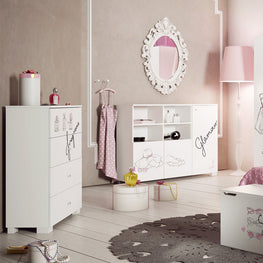 FANCY PINK Comoda inalta, 4 sertare, MDF si PAL