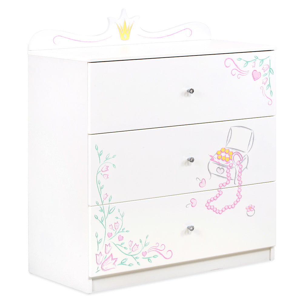 MAGIC PRINCESS Comoda lata, 3 sertare, MDF si PAL