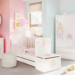 MAGIC PRINCESS Patut bebe 70x140cm, grilaj protectie Junior, somiera