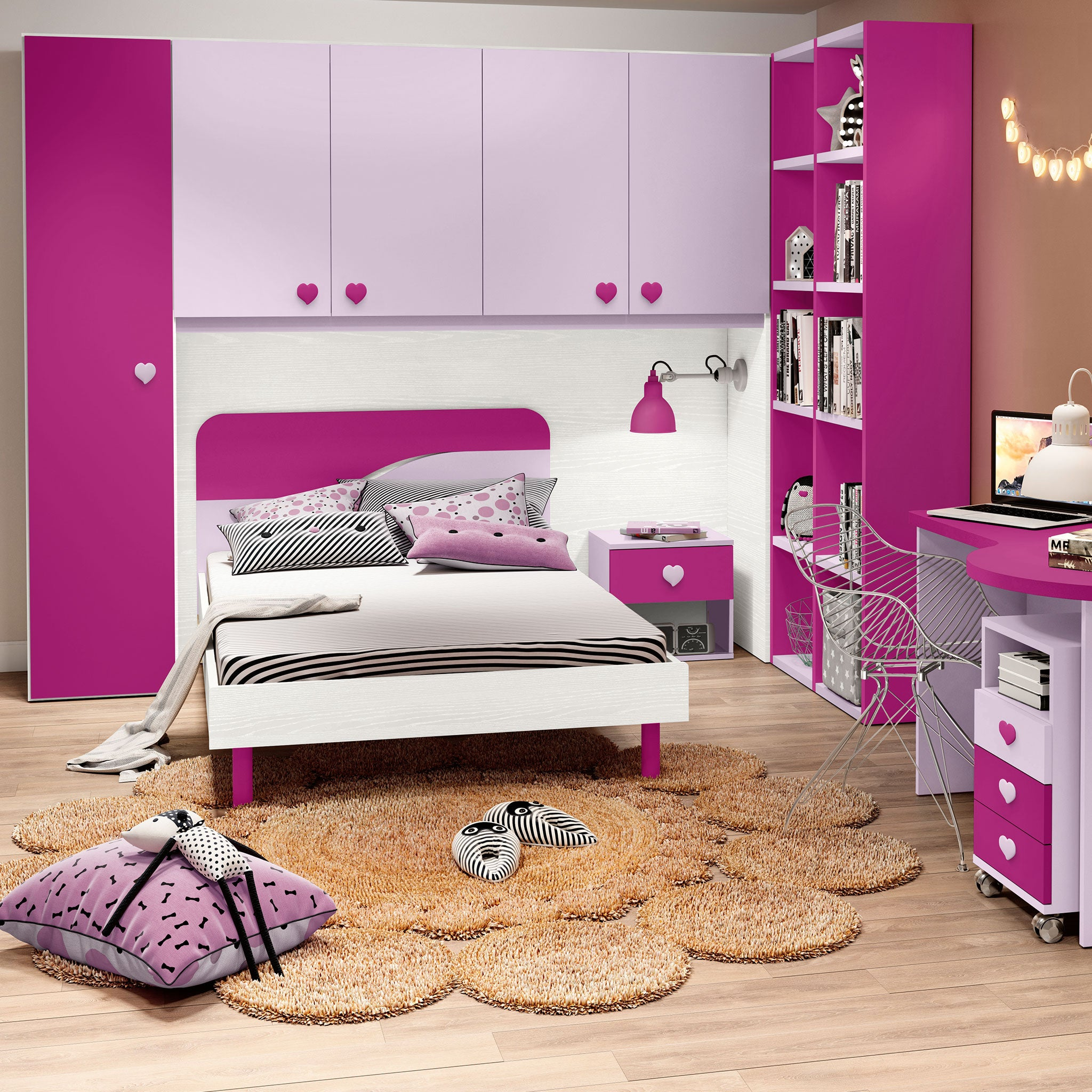 EVAN FUCSIA Set mobilier camera copii