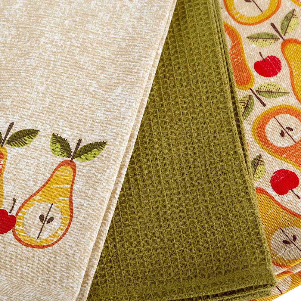 RETRO FRUITS Set 3 prosoape bucatarie