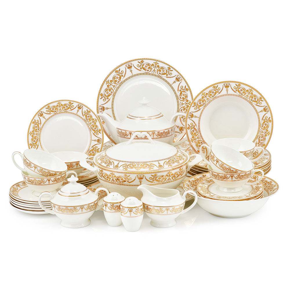 Set vesela, portelan Bone China, 44 piese MAGNIFICENT GOLD