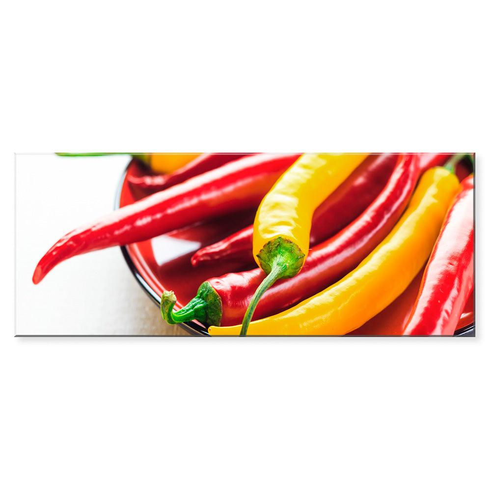Tablou sticla 50x125 cm COLOURFUL CHILLIES