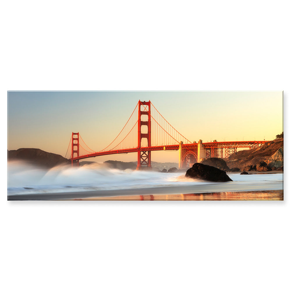 Tablou sticla 125x50 cm GOLDEN GATE AT SUNSET
