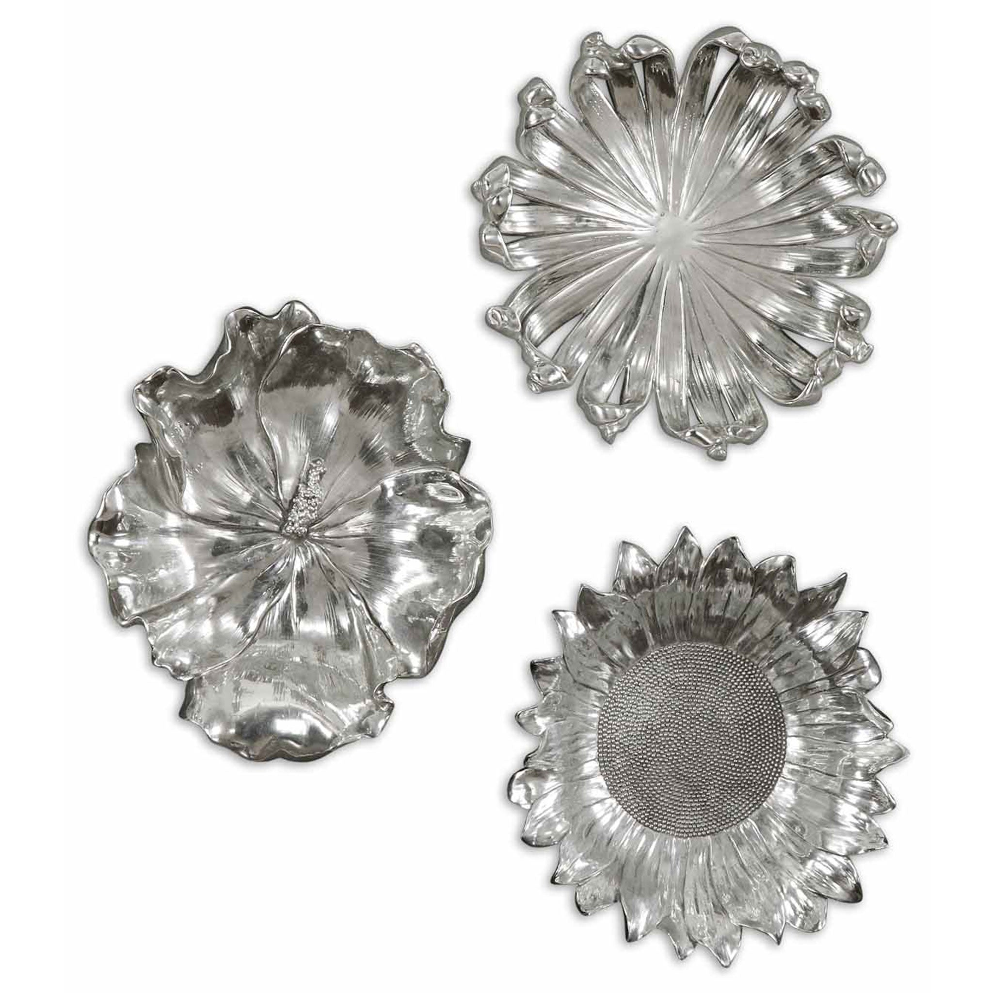 SILVER FLOWERS Set 3 decoratiuni perete