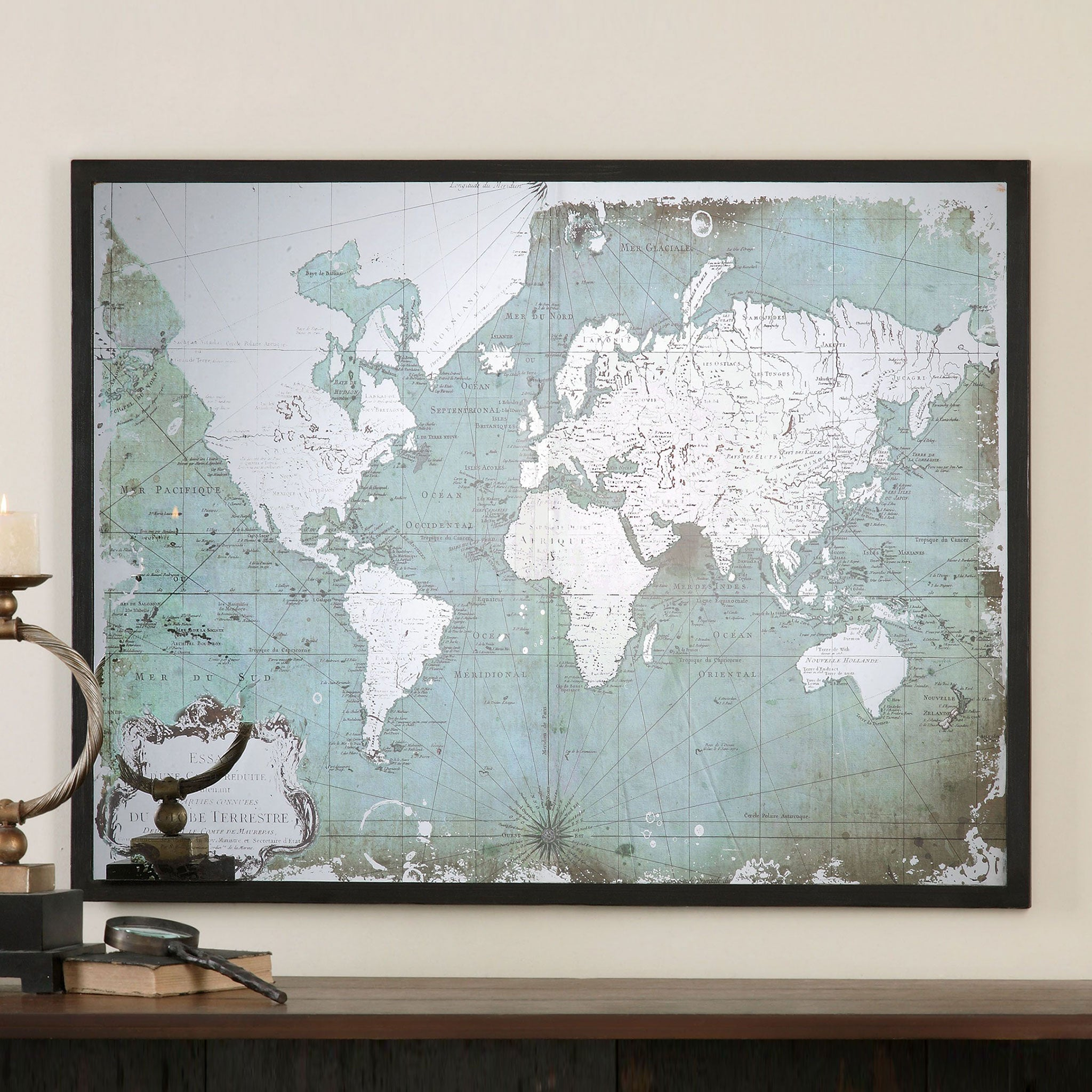 MIRRORED WORLD MAP Decoratiune perete