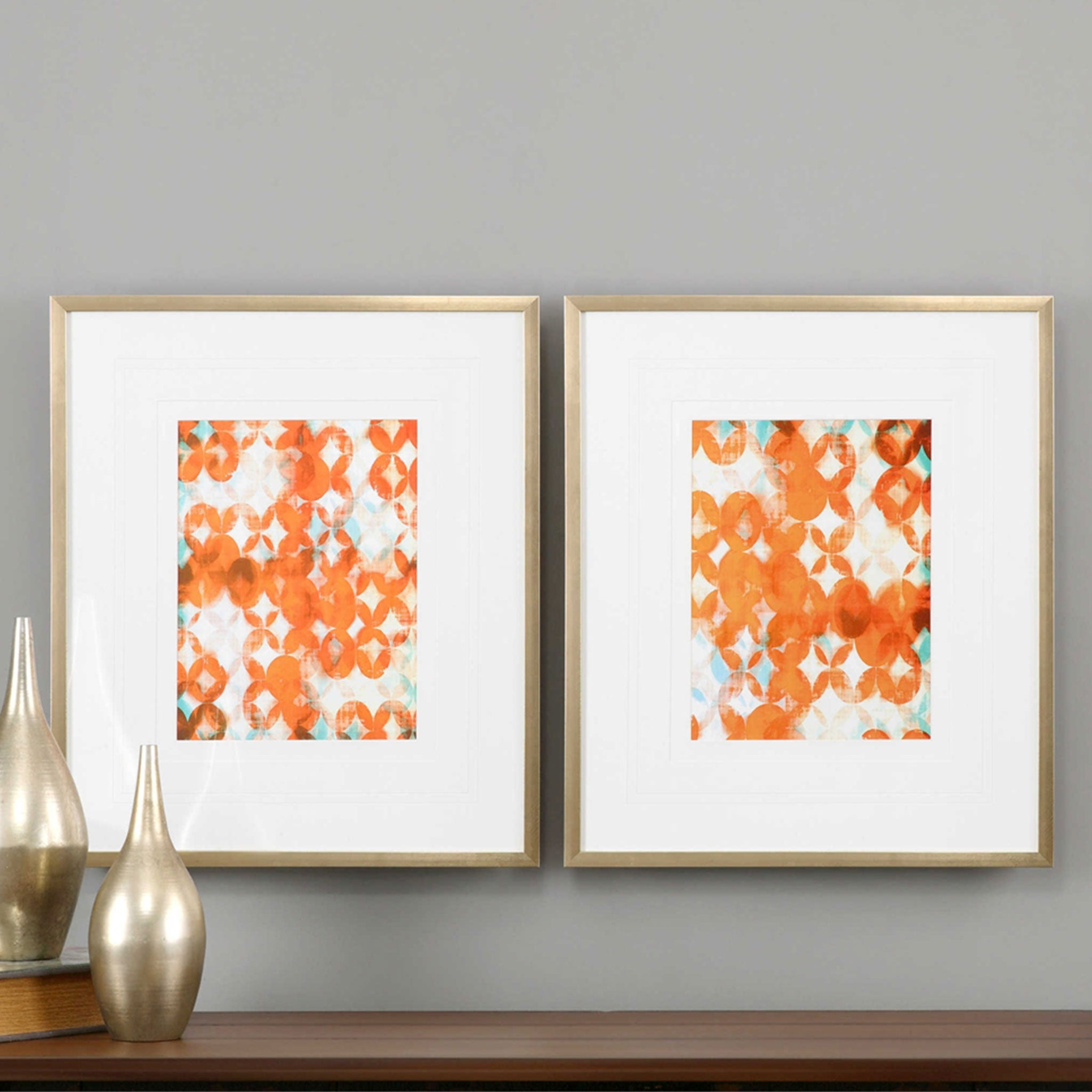 OVERLAPPING TEAL AND ORANGE Set 2 tablouri