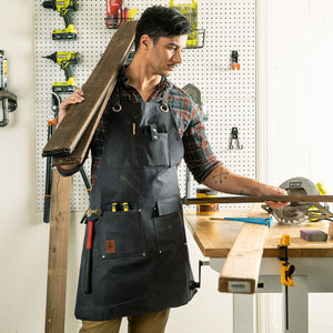 Heavy Duty Waxed Canvas Shop Apron Deluxe Edition (Grey / Slate)