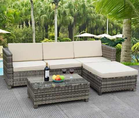 5 pc Wicker Patio Sectional Sofa Set (Rustic Gray) - NEW!