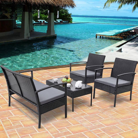 4 pc All Weather Wicker Patio Chat Set (Black/Gray) - NEW!