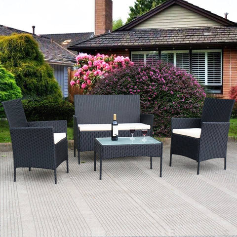 4 pc Coated Wicker Patio Furniture Set (Black/Cream) - NEW!