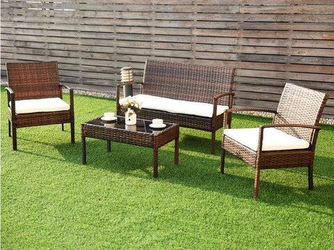 4 pc All Weather Wicker Patio Chat Set (Brown/Cream) - NEW!