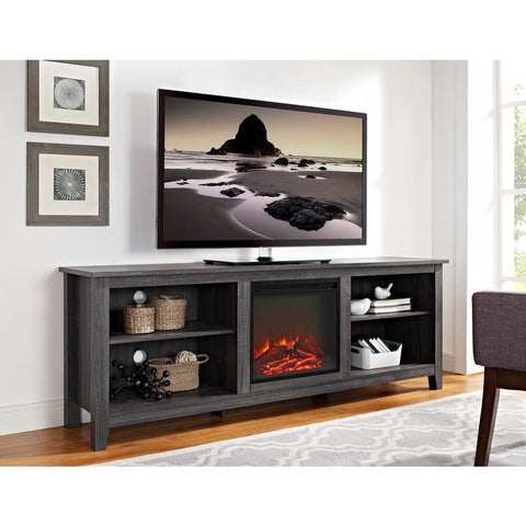 Wood Media TV Stand Console with Fireplace (Charcoal) - NEW!