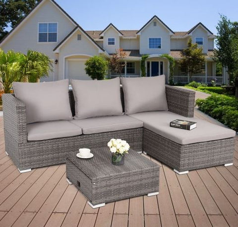 All Weather Wicker Patio Sectional Sofa Set (Gray/Gray) - NEW!