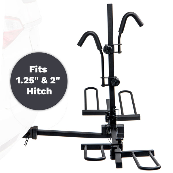 K1 Platform Hitch Mounted Bike Rack - 2 Bike Carrier For 1.25 inch or 2 inch Hitch Receivers (Adapter Included)