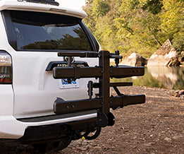 KAC C2 Premium Hitch Mounted Bike Rack on the back of a white Toyota 4Runner.