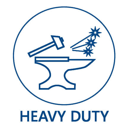 Heavy Duty Feature icon in blue with hammer and anvil