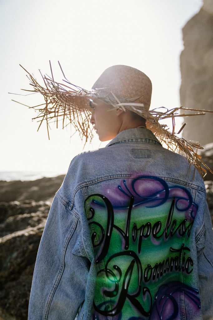 90's inspired 'Hopless Romantic' airbrushed vintage denim jacket