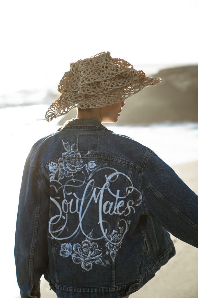 'Soumates' Hand painted vintage jacket for the beach bride