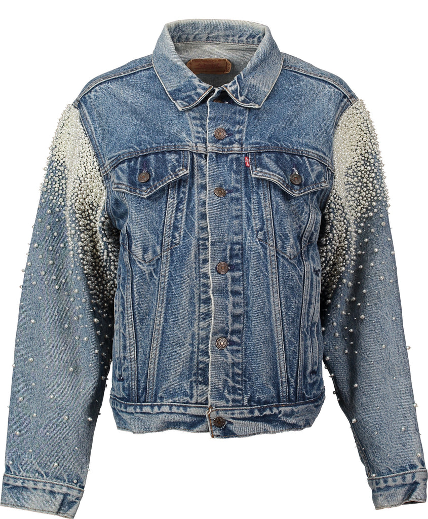 Hand embroidered, crystal and pearl vintage denim jacket for the beach bride