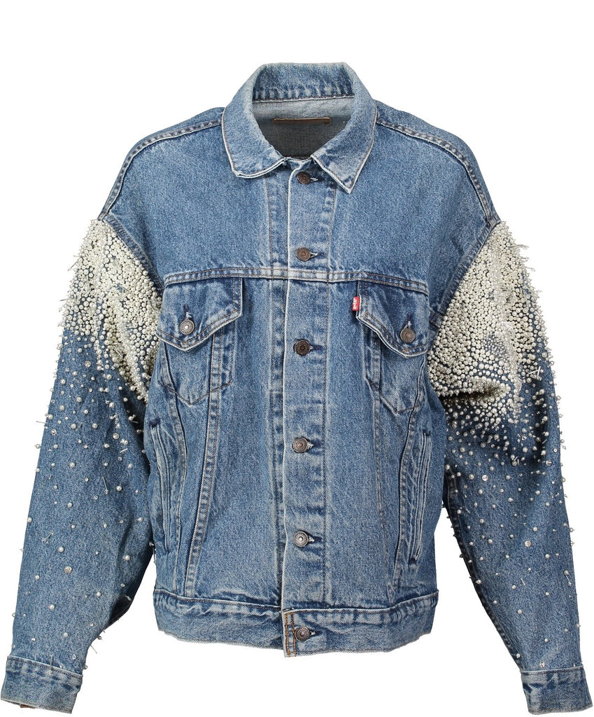 Hand embroidered, crystal and pearl vintage denim jacket for the bride