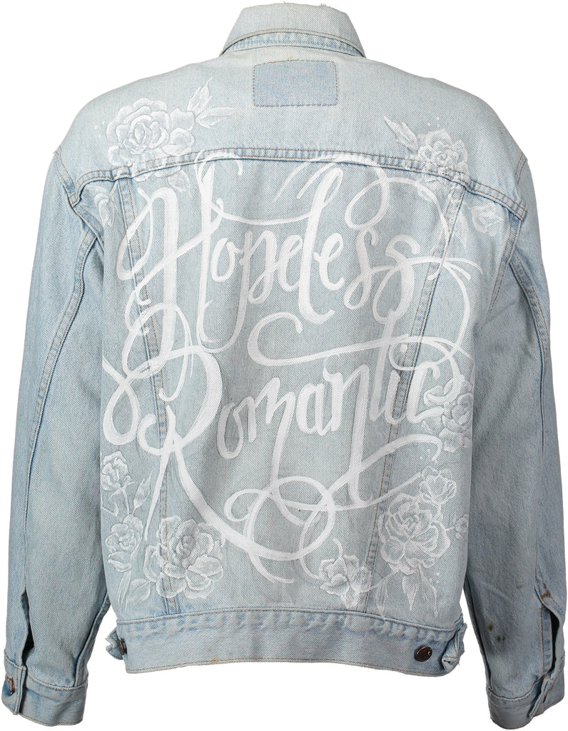 'Hopeless Romantic' hand painted vintage denim bridal jacket