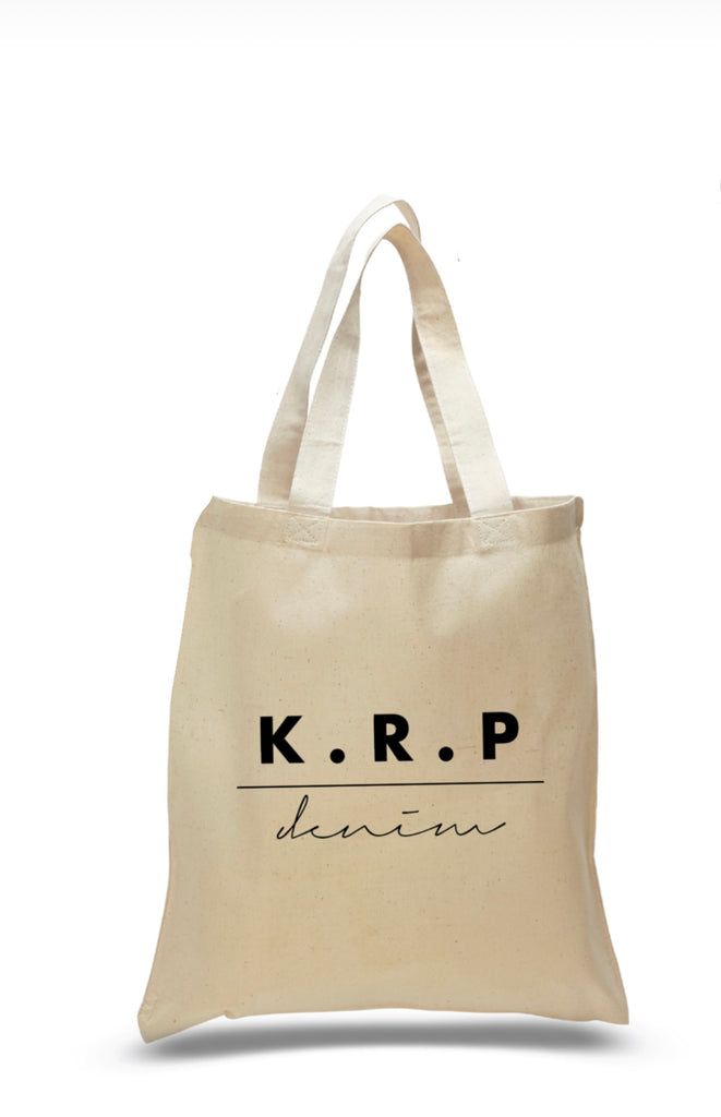 100% cotton KRP denim tote bag for the bride