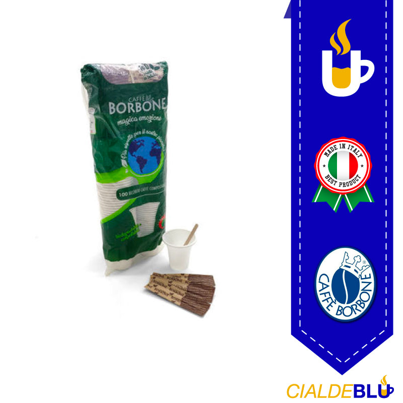KIT ACCESSORI BORBONE COMPOSTABILE 100pz.