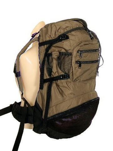 Made in USA ergonomic backpack, tan color