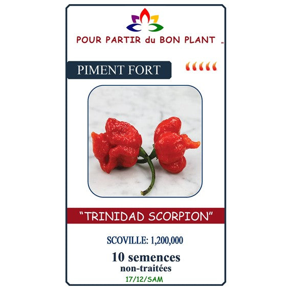 "Semence Piment Fort "" Trinidad Scorpion Rouge """